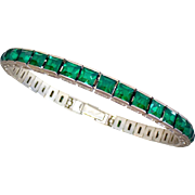 Art Deco Otis Sterling & Emerald Green Paste Bracelet