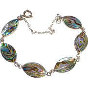 Sterling Silver Abalone Marquise Link Bracelet