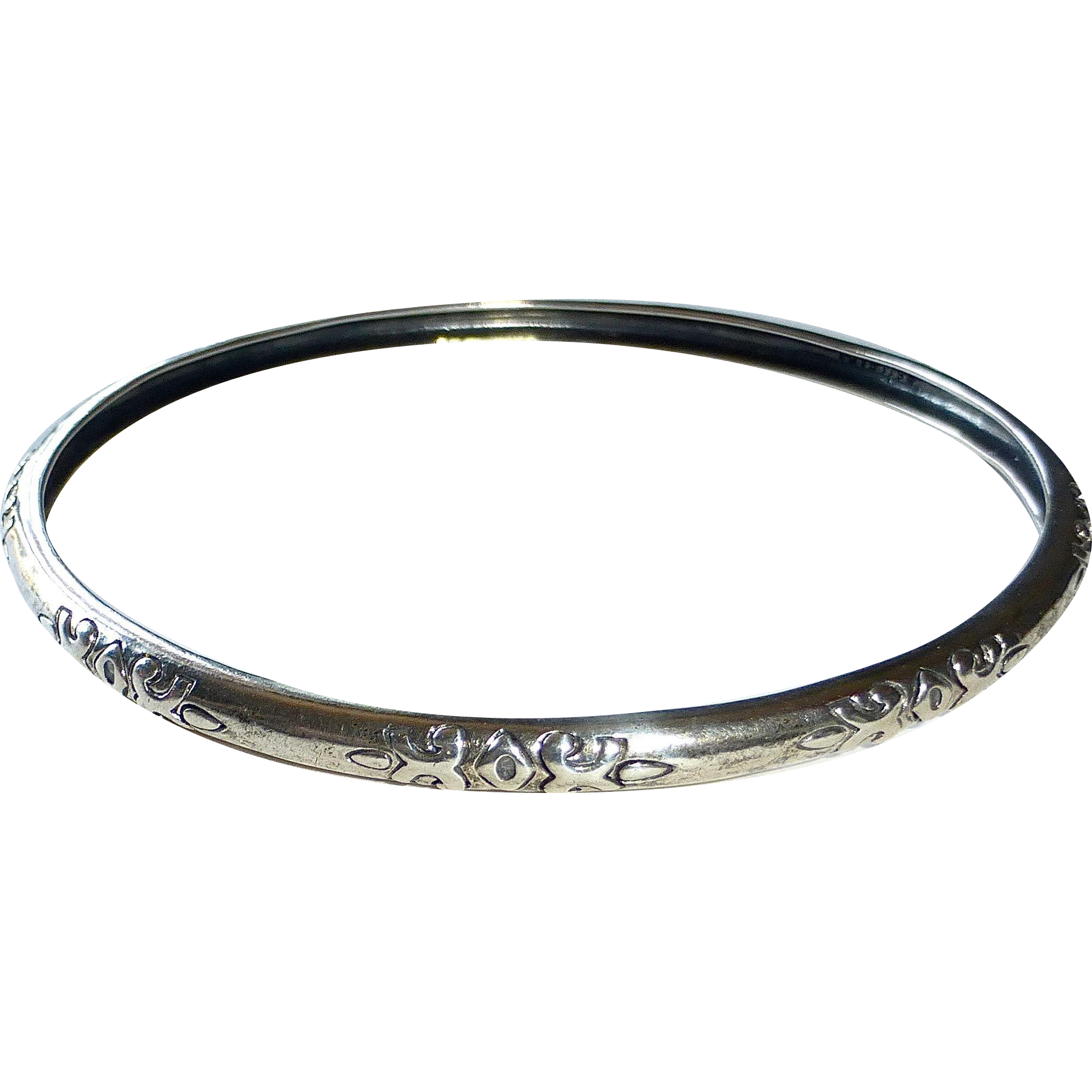 Sterling Domed Bangle w Incised Design