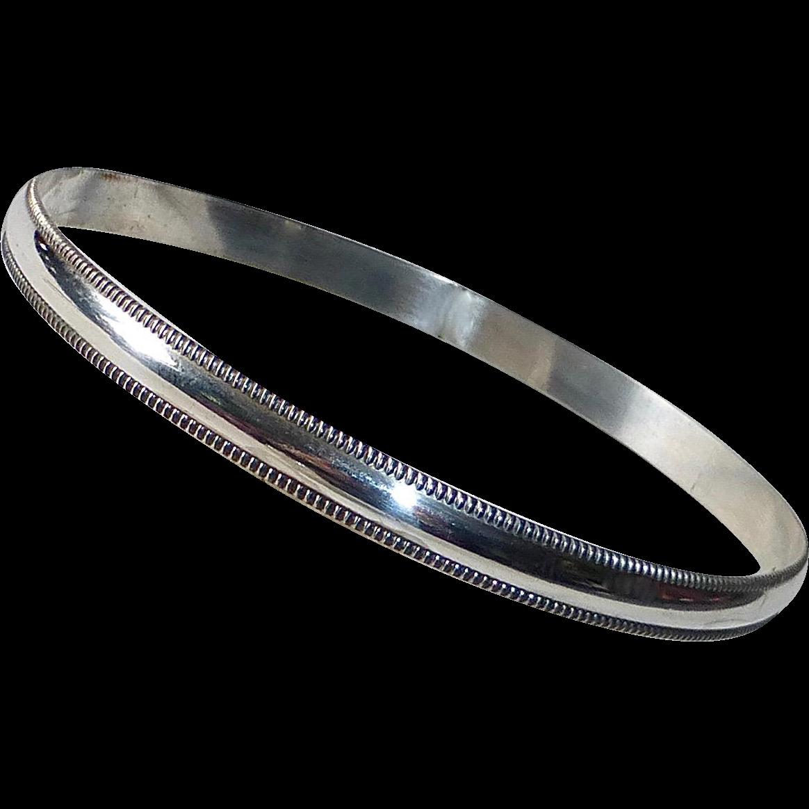 Sterling Beaded Edge Bangle Bracelet
