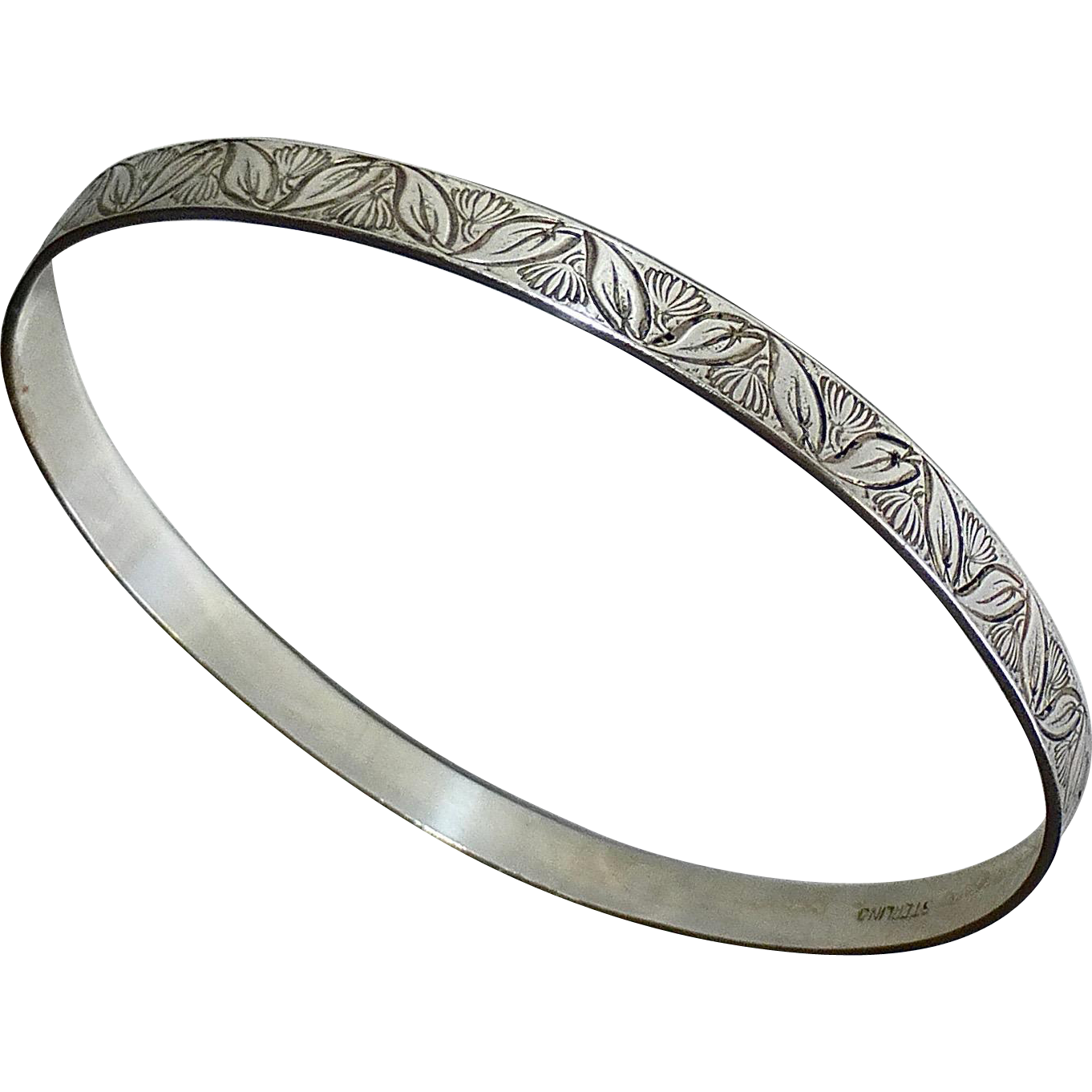 Sterling Embossed Leaf & Flower Patterned Bangle Bracelet
