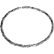 Sterling Silver Ribbon Bangle w Twisted Wire
