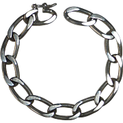 Heavy Sterling Silver Oval Flat Link Curb Chain Bracelet