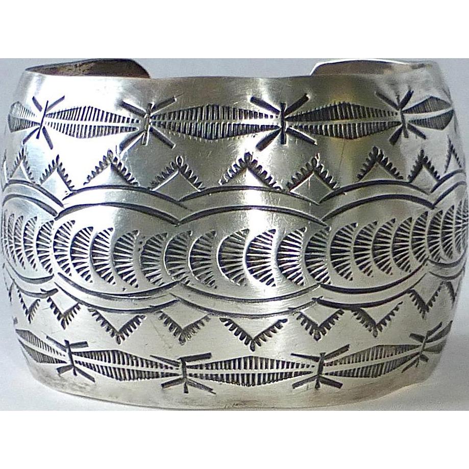 Southwest Sterling Wide Ornate Stamped Cuff Bracelet