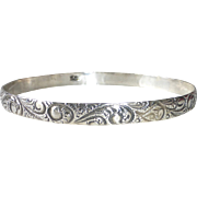 Danecraft Sterling Silver Embossed Paisley Pattern Bangle Bracelet