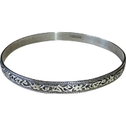Danecraft Sterling Silver Bangle Bracelet Embossed Floral Vine