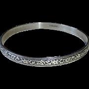 Danecraft Sterling Silver Bangle Bracelet Embossed Floral Vine