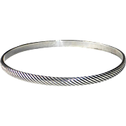 Sterling Bangle Bracelet Incised Diagonal Lines