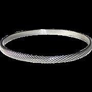 Sterling Bangle Bracelet Incised Diagonal Lines