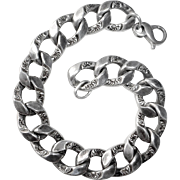 Heavy Sterling Oval Flat Embossed Link Curb Chain Bracelet