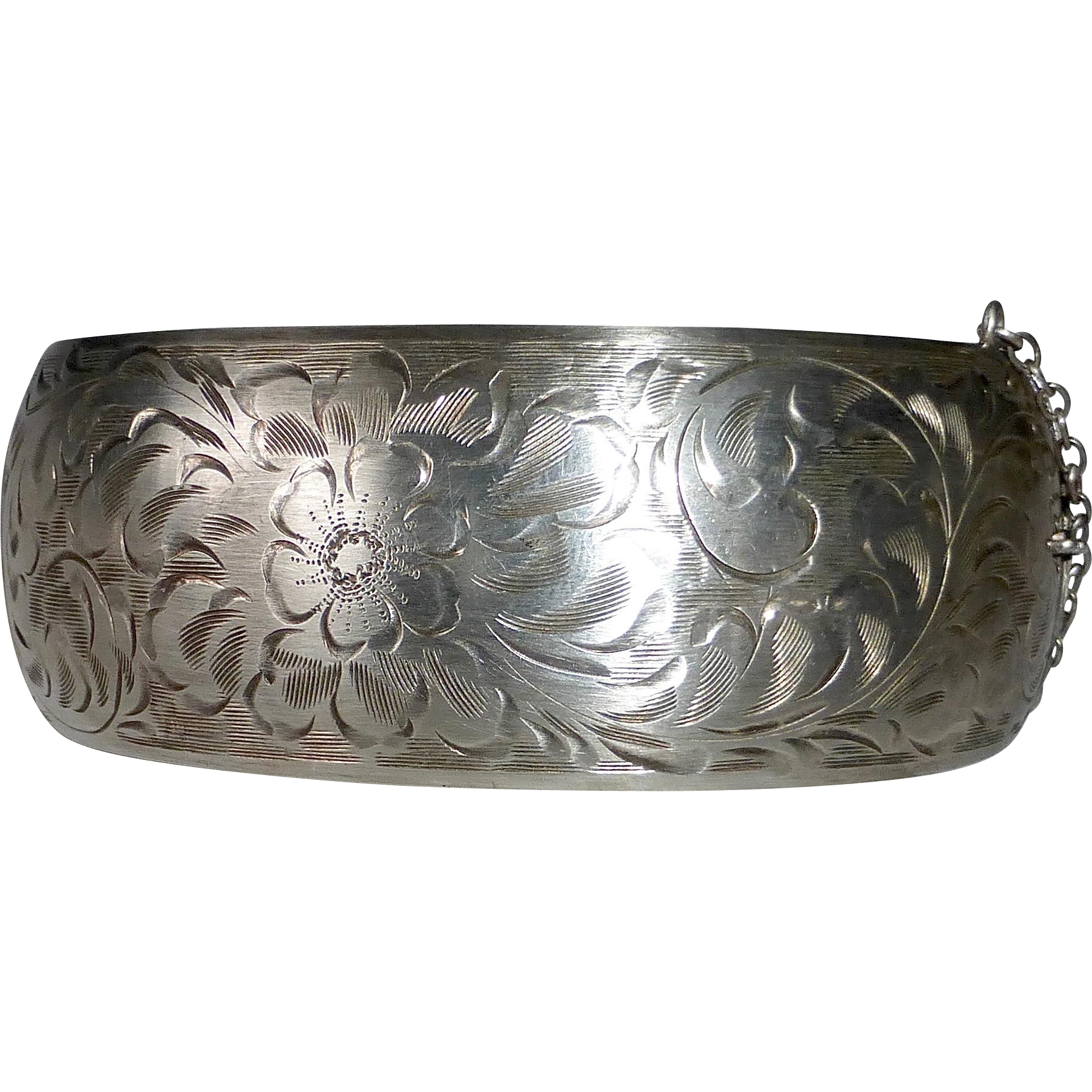Engraved Sterling Wide Domed Hinged Bangle Bracelet