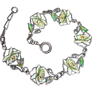 Sterling Double Sided Lotus Flower Enamel Link Bracelet