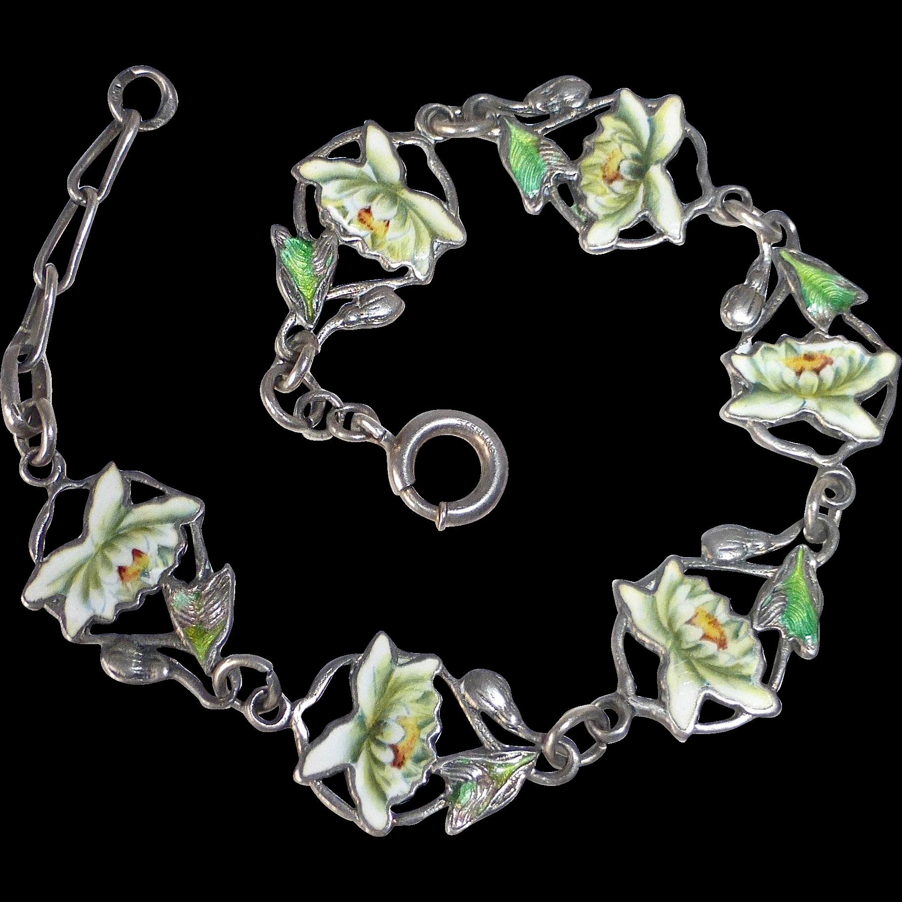Sterling Double Sided Lotus Flower Enamel Link Bracelet