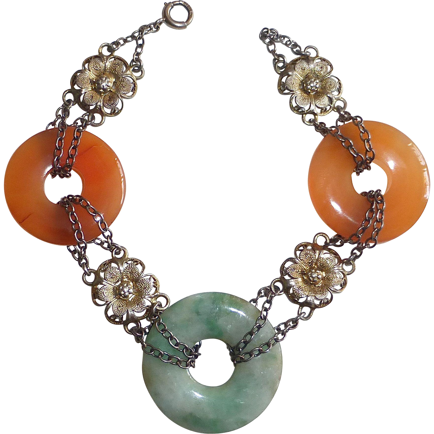 Art Deco Chinese Jade & Gilt Sterling Filigree Bracelet