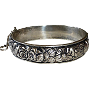 French Sterling Hinged Flower Garden Repousse Bangle