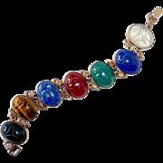 Egyptian Revival Symmetalic GF Sterling Bracelet Gemstone Scarabs c1950s