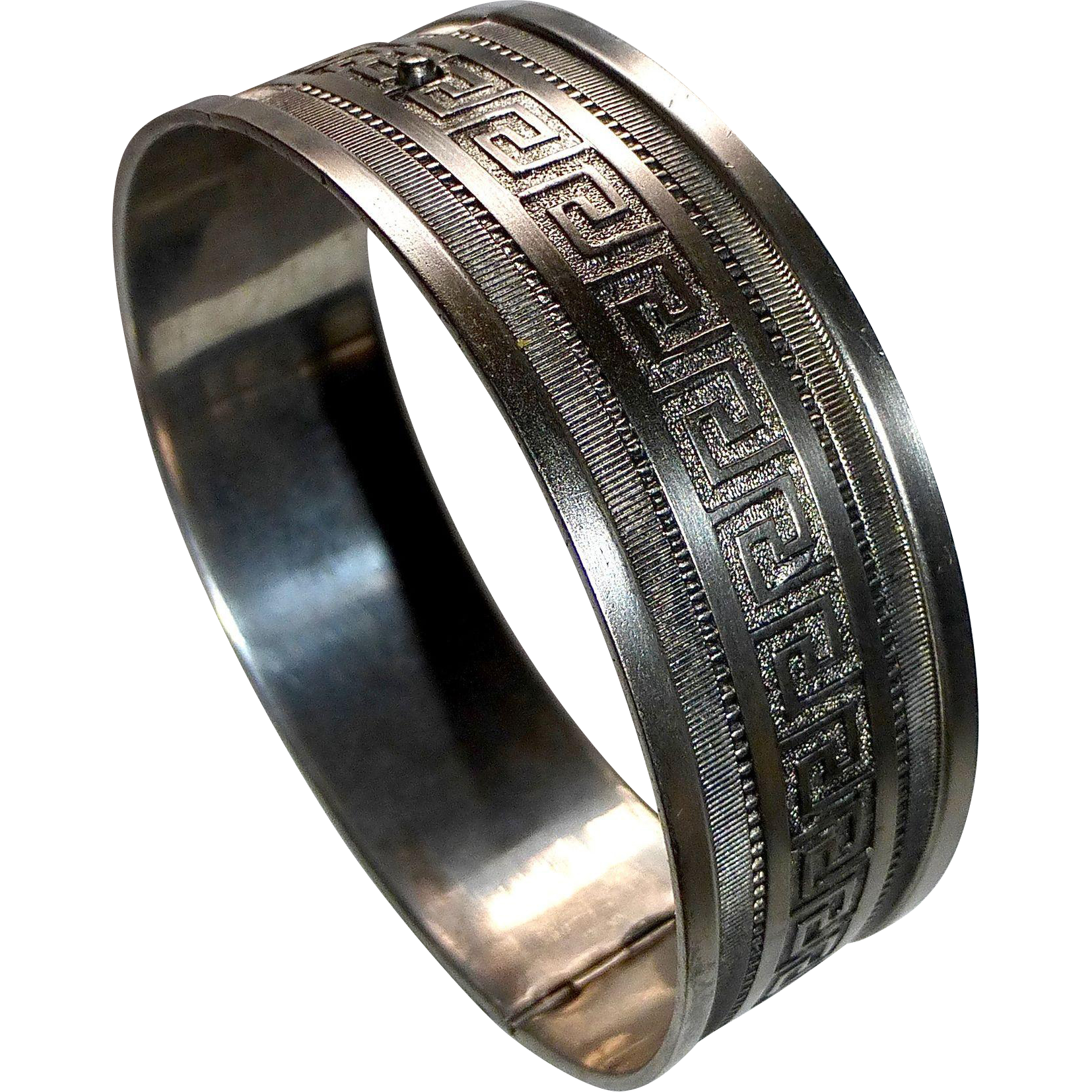 Sterling Wide Hinged Bracelet Greek Key Design