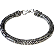 Heavy Sterling Woven Large Size Chain Bracelet Decorative Ends