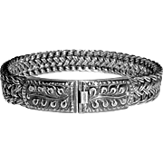 Heavy Woven Chain Bracelet w Decorative Box Clasp
