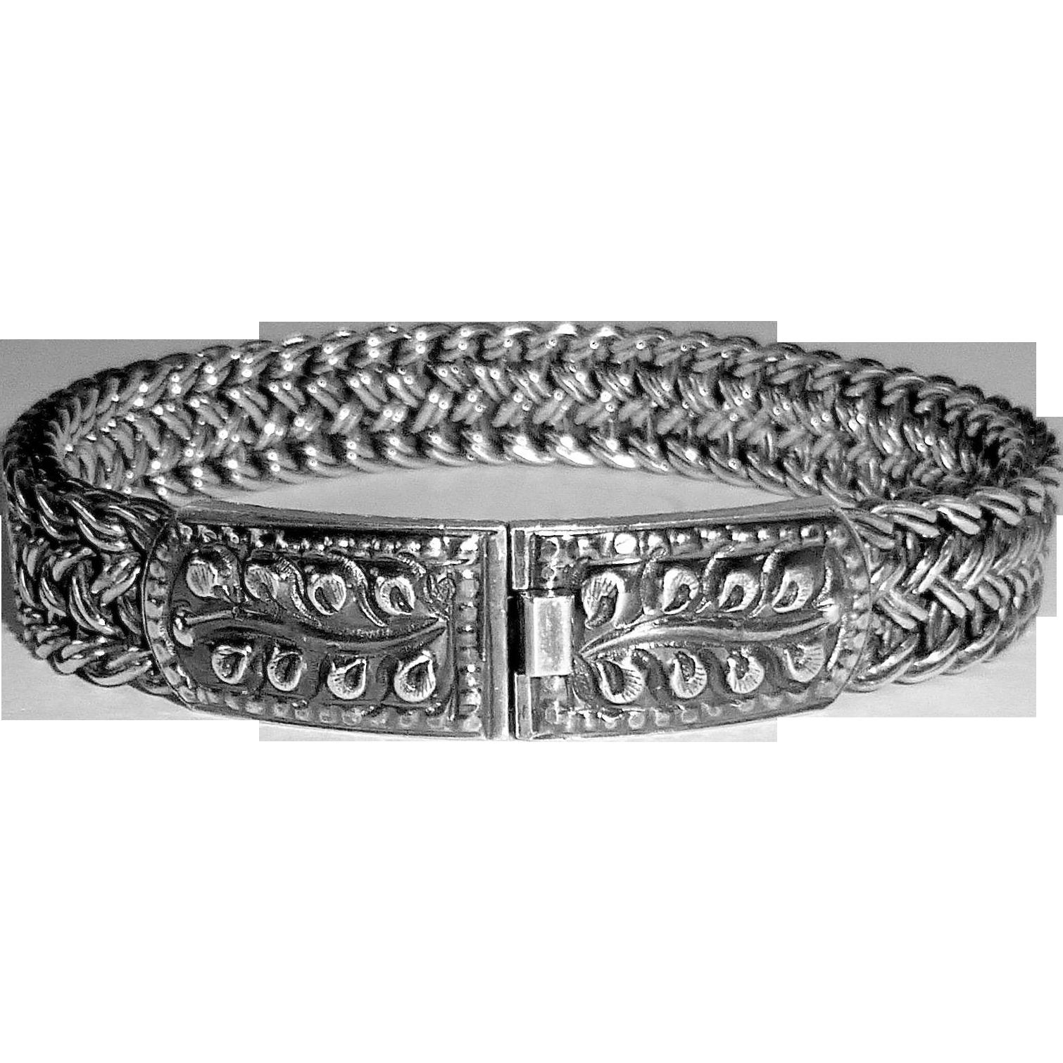 Heavy Woven Chain Bracelet w Decorative Box Clasp