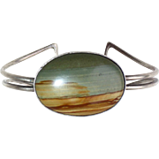 Sterling Cuff Bracelet w Large Landscape Agate
