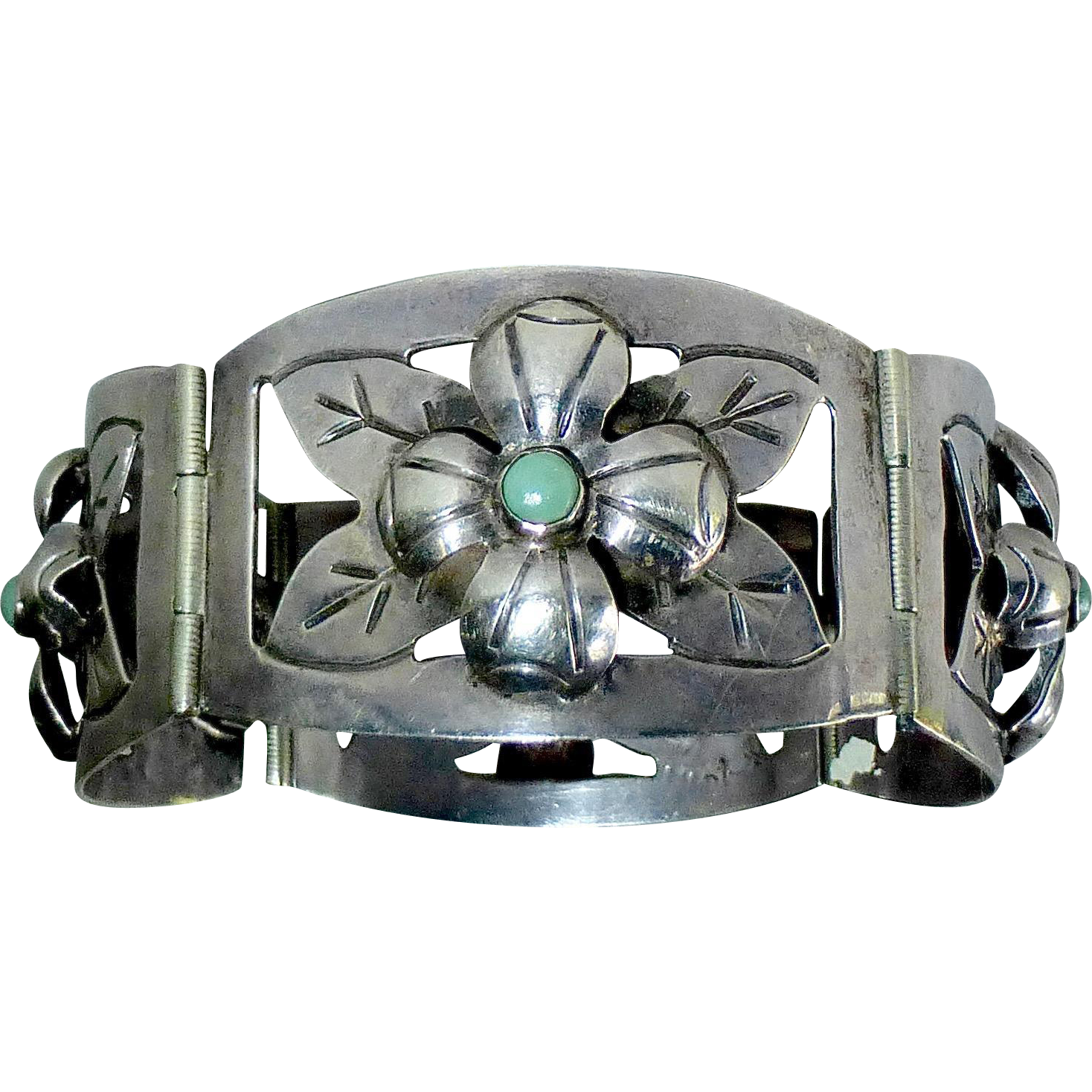 Mexican Handcrafted Sterling Wide Floral Hinged Panel Bracelet