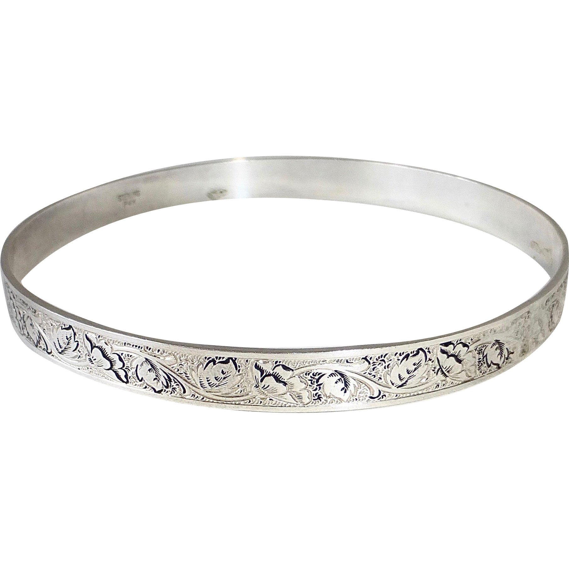 Sterling Bangle Bracelet w Engraved Poppies