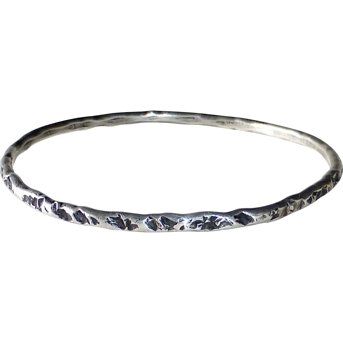 Sterling Silver Bangle Bracelet Rustic Brutalist Design