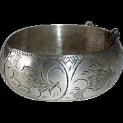 Engraved Sterling Wide Domed Hinged Bangle Bracelet