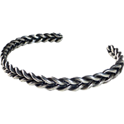 Sterling Silver Double Strand Twisted Wire Cuff Bracelet