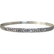Sterling Silver Bangle Bracelet Ornate Carved Curls Design