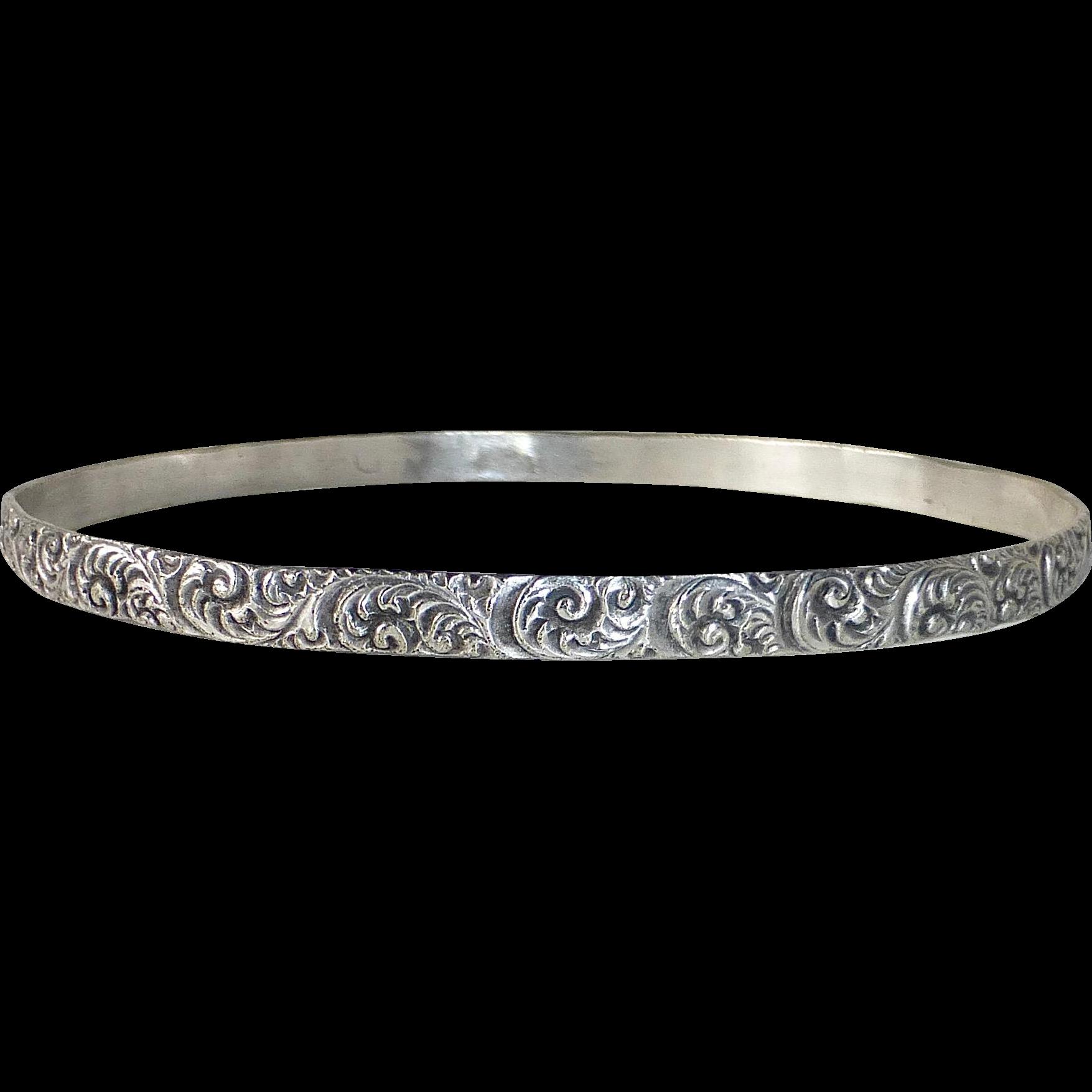 Sterling Silver Bangle Bracelet Ornate Carved Curls Design