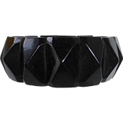 Antique Victorian Faceted Whitby Jet Bracelet c1880