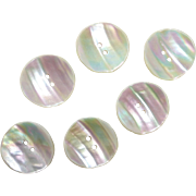 Set of 6 Colorful Luminous Rippled Mother of Pearl Buttons
