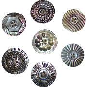 Card of 7 Large Luminous Carved Mother of Pearl Buttons