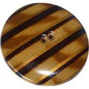 "Art Deco 2"" Striped Celluloid Covered Metal Button"