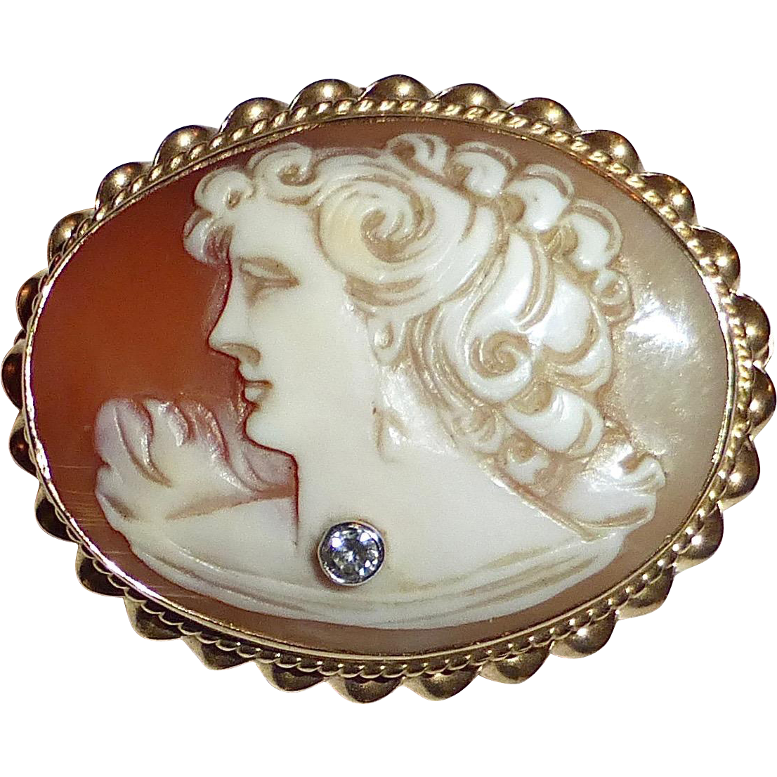 14k Shell Cameo Pendant/Brooch Woman w Diamond Necklace