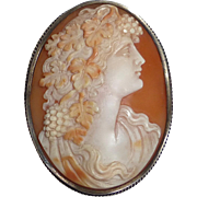 Victorian Shell Cameo Pin-Pendant 800 Silver Frame