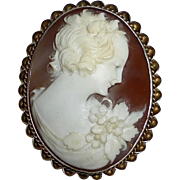 Shell Cameo Pin Sterling Gold Wash Frame