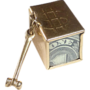 14k YG Charm 'Mad Money' Boxed $1 Bill & Hammer