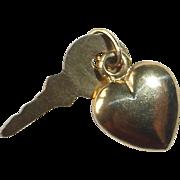14k Heart & Key 2 Piece Charm
