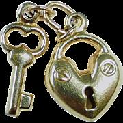 14k 2 pc Lock & Key Charm or Pendant