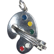 Sterling Artist's Paint Palette Charm or Pendant