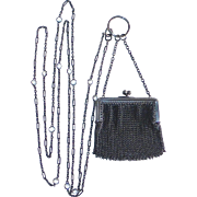 Antique Gunmetal Chatelaine Purse & Original Chain w Crystals