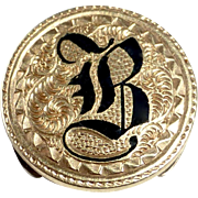 10k Engraved Collar or Lapel Button Enamel Initial B