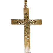 14k Engraved Yellow Gold Cross
