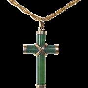 Jade & Sterling Vermeil Cross & Chain Necklace