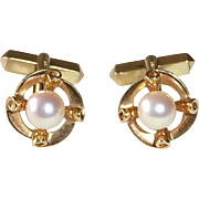 14k Yellow Gold Mikimoto Pearl Cufflinks