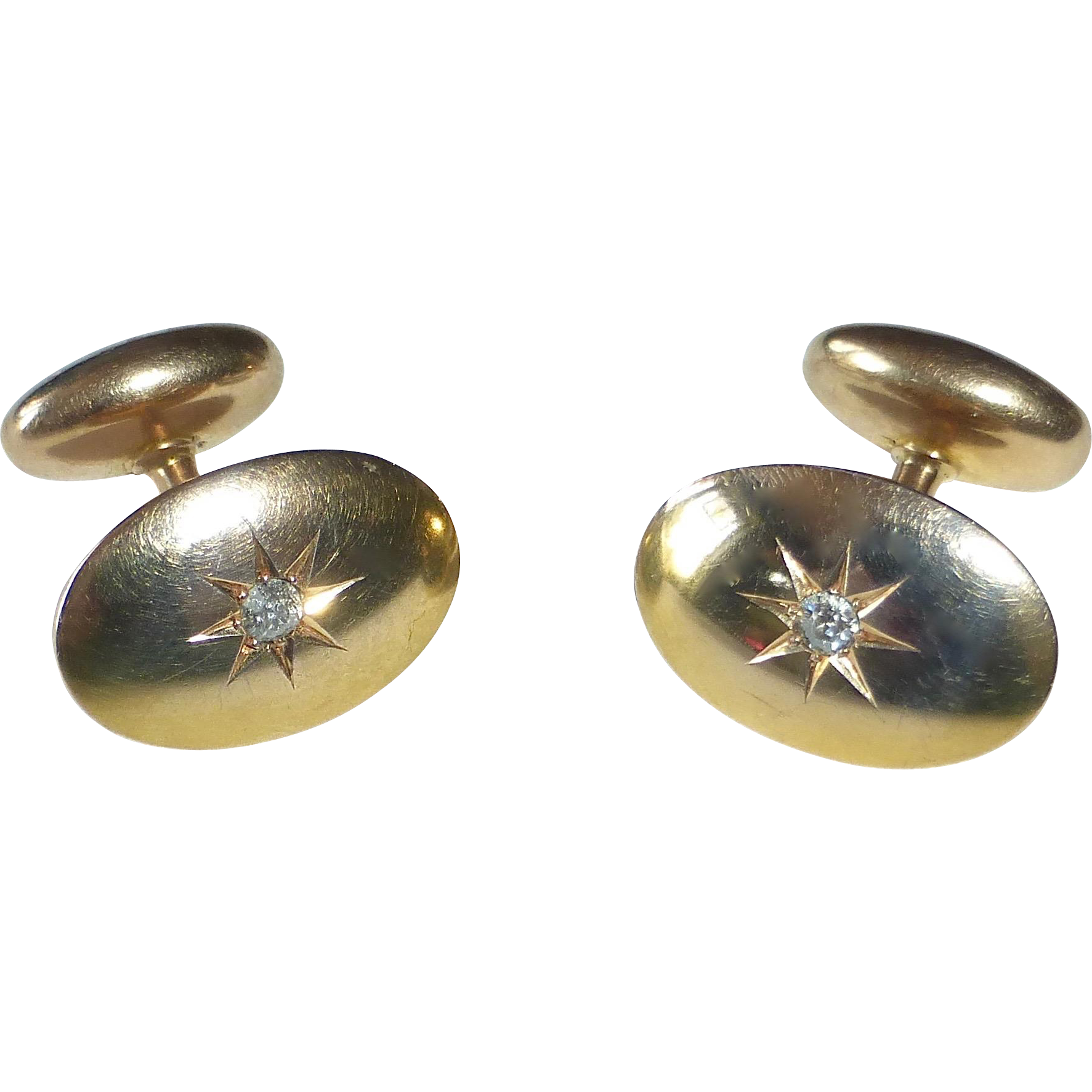 14k Antique Victorian Oval Cufflinks w Center Diamond