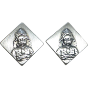 Antique 800 Silver Dutch Cufflinks Girl Smoking a Pipe